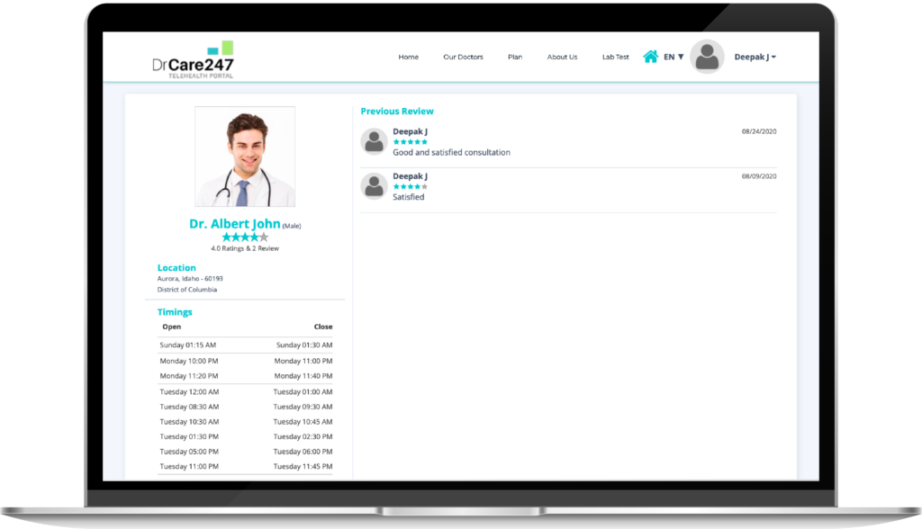 View patient ratings and reviews